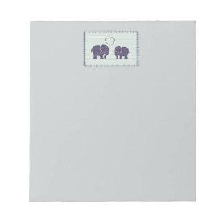 Niedliche elegante Elefanten im Liebepatchwork Notizblock