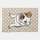 Niedliche englische Bulldoggen-Illustration Geschirrtuch