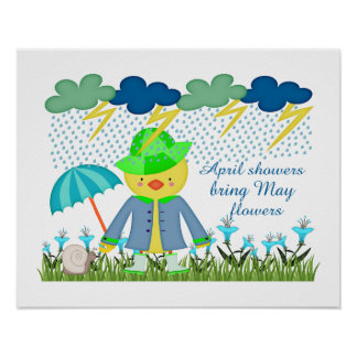Niedliche Enten-April-Duschen Bring können Blumen Poster