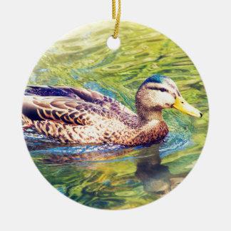 Niedliche Enten-Schwimmen Rundes Keramik Ornament