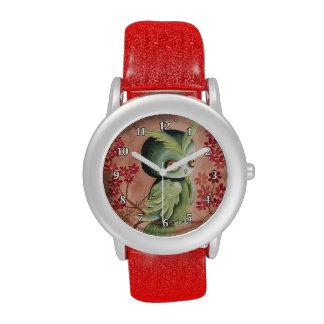 Niedliche ernste grüne Eule Uhr