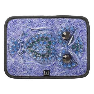 Niedliche Eule, blauer Glitterherzdiamant-Fotodruc Mappe