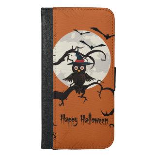 Niedliche Eule mit Hexehut glückliches Halloween iPhone 6/6s Plus Geldbeutel Hülle