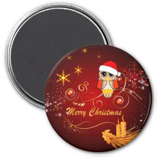 Niedliche Eule, Weihnachten Runder Magnet 7,6 Cm