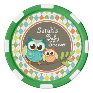 Niedliche Eulen auf bunter Raute; Babyparty Poker Chips Sets