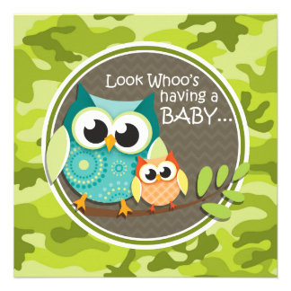 Niedliche Eulen-Baby-Dusche grüne Camouflage Individuelle Einladung