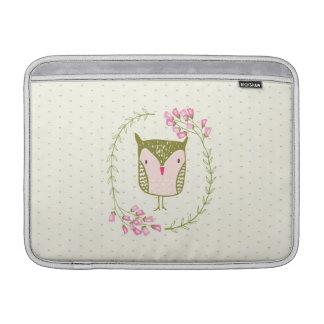 Niedliche Eulen-BlumenWreath und Herzen Sleeve Fürs MacBook Air