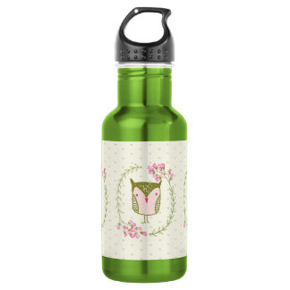 Niedliche Eulen-BlumenWreath und Herzen Trinkflasche
