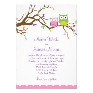 Niedliche Eulen-Hochzeits-Einladung