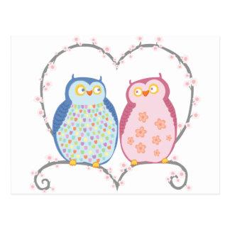 Niedliche Eulen im Liebe-Herz-Rosa-Blau Clipart Postkarte