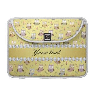 Niedliche Eulen-Imitat-Goldfolie Bling Diamanten Sleeve Für MacBook Pro