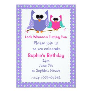 Niedliche Eulen-Kindergeburtstag-Party Einladungen