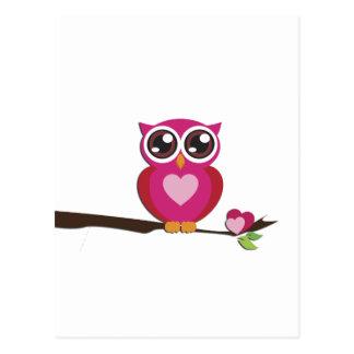 Niedliche Eulen-Liebe-Herzen Postkarte