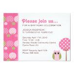 Niedliche Eulen-Mädchen-Geburtstags-Party 12,7 X 17,8 Cm Einladungskarte