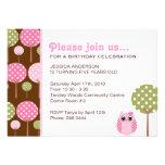 Niedliche Eulen-Mädchen-Geburtstags-Party Einladungskarte