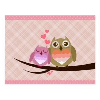 Niedliche Eulen-Paare voll der Postkarte