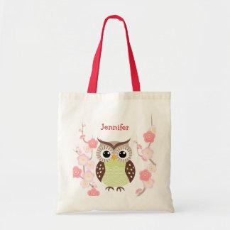 Niedliche Eulen-und Ume Blumen-Taschen-Tasche