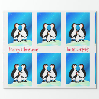 Niedliche Familie von Penguins-Weihnachten Geschenkpapier