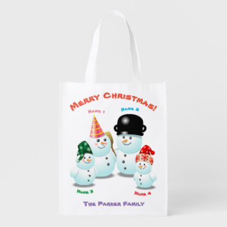 Niedliche Familie von Snowmen Wiederverwendbare Einkaufstasche