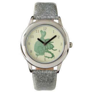 niedliche Fantasiegeschöpfkunst des grünen Drachen Armbanduhr