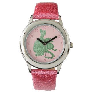 niedliche Fantasiegeschöpfkunst des grünen Drachen Uhr