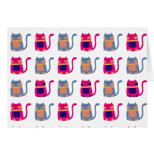 Niedliche fette Kitty-Katzen-rosa Melone-blaue ein Grußkarte