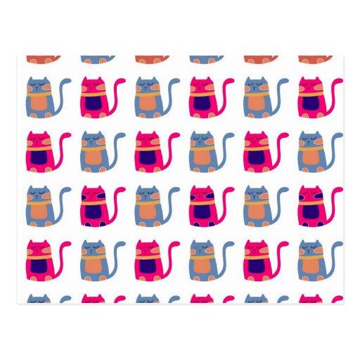 Niedliche fette Kitty-Katzen-rosa Melone-blaue ein Postkarte