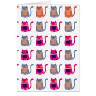 Niedliche fette Kitty-Katzen-rosa Melone-blaue Grußkarte