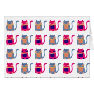 Niedliche fette Kitty-Katzen-rosa Melone-blaue Mitteilungskarte