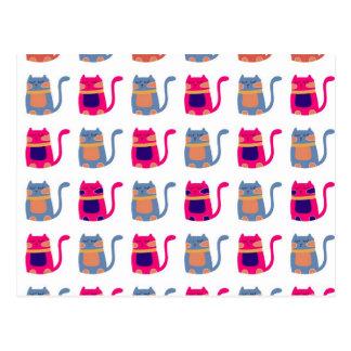 Niedliche fette Kitty-Katzen-rosa Melone-blaue Postkarte