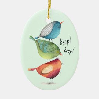 Niedliche fette Vögel stehend auf einander Keramik Ornament