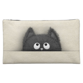 Niedliche flaumige schwarze Katze, die heraus Cosmetic Bag