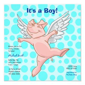 Niedliche Fliegen-Schwein-Baby-Duschen-Party Karte