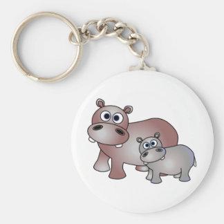 Niedliche Flusspferde Mamma und Baby Schlüsselanhänger