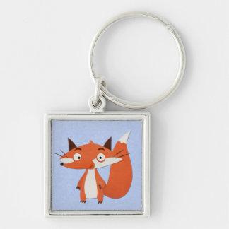 Niedliche Fox-Illustration Silberfarbener Quadratischer Schlüsselanhänger