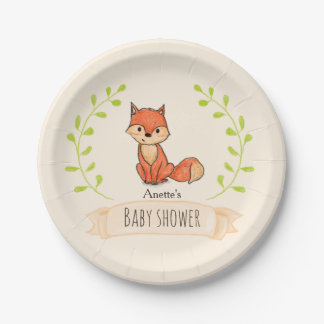 Niedliche Fox-Waldbaby-Dusche Pappteller