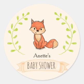 Niedliche Fox-Waldbaby-Dusche Runder Aufkleber