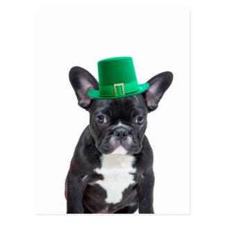 Niedliche französische Bulldogge mit Hut-St Postkarten