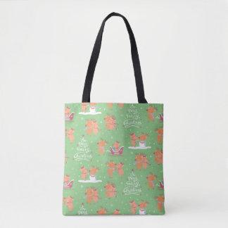Niedliche frohe Weihnacht-Ren-Paar-Muster-Tasche Tasche