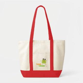 """Niedliche Frosch-""""denke ökologisch-"""" Taschen-Tasch"""