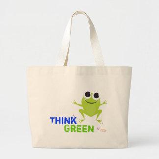"""Niedliche Frosch-""""denke ökologisch-"""" Taschen-Tasch Jumbo Stoffbeutel"""