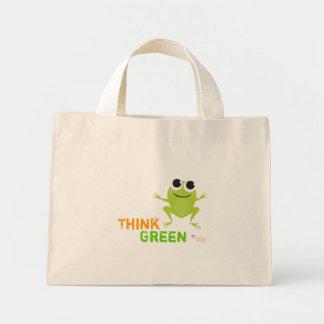 """Niedliche Frosch-""""denke ökologisch-"""" Taschen-Tasch Mini Stoffbeutel"""