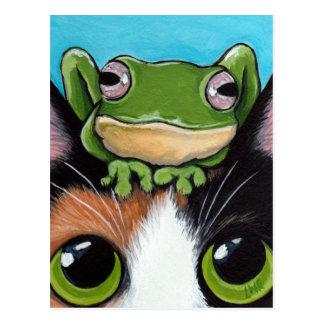 Niedliche Frosch-und Schildpatt-Katzen-Postkarte Postkarte
