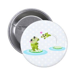 Niedliche Frösche - kawaii Mamma und Babyfrosch-Ca Runder Button 5,7 Cm