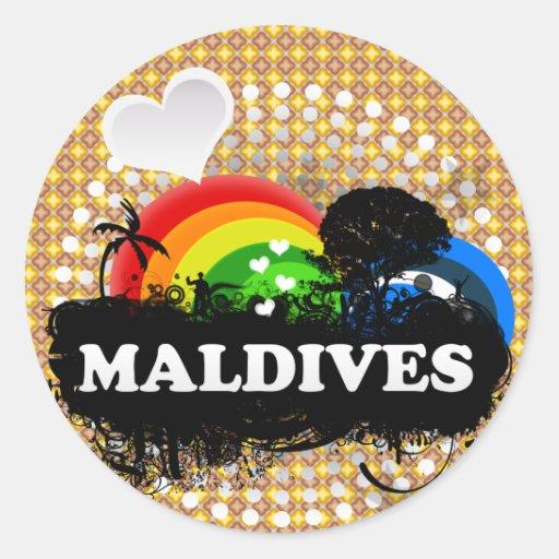 Niedliche fruchtige Malediven Runder Sticker