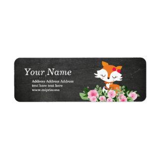 niedliche Fuchs-Rücksendeadresseaufkleber