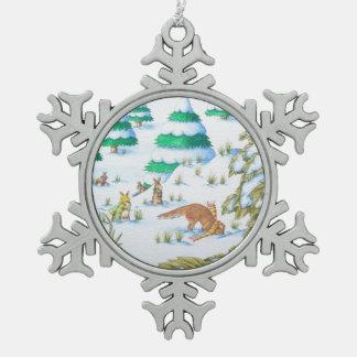 niedliche Fuchs- und Schneeflocken Zinn-Ornament