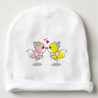 Niedliche Füchse in Liebe-Cartoon-Babymädchen Babymütze