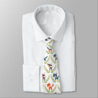 Niedliche Füchse u. Rotwild mit grünem Wreath Krawatte