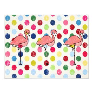 Niedliche Funky Flamingo-bunte Polka-Punkte Fotodruck